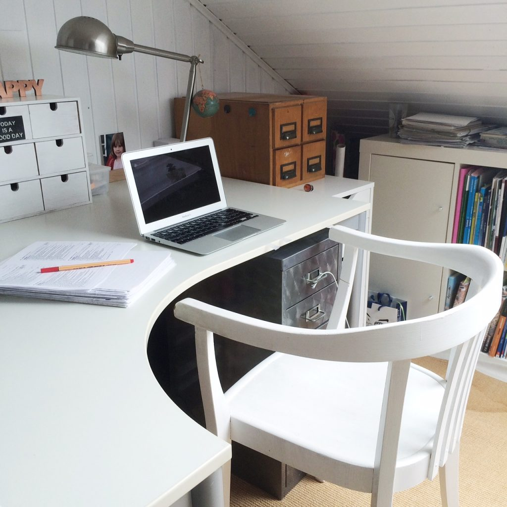 home office in white and wood