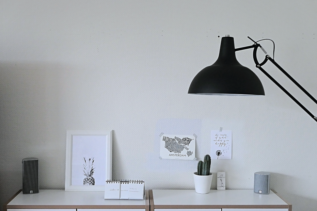 decorating a shelf in black and white