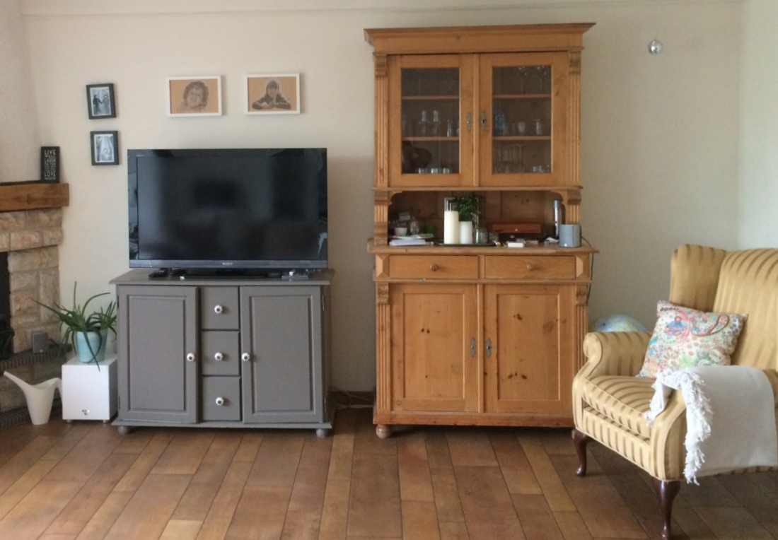 old kitchen cabinet in the living room