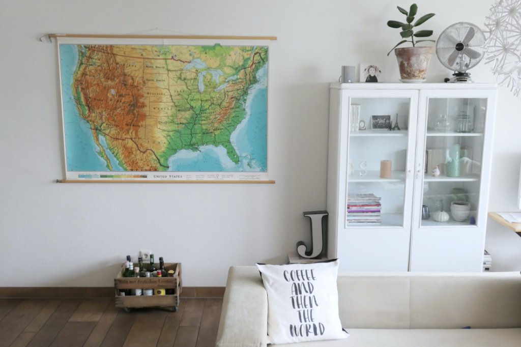 decorating the living room with a map